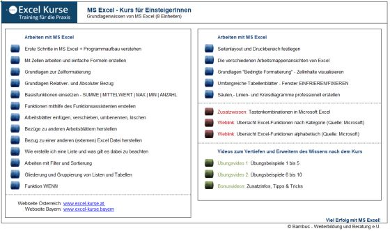 Übungsdatei - Excel Kurs - Wien