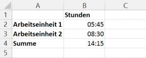 Addieren von Uhrzeiten in MS Excel