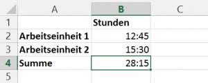 Korrekte Ausweisung der Gesamtsumme Arbeitseinheiten im 24-Stunden-Format