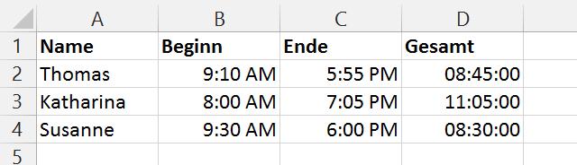 Auszeichnen der Gesamtsumme der Arbeitszeiten an einem Projekt in MS Excel