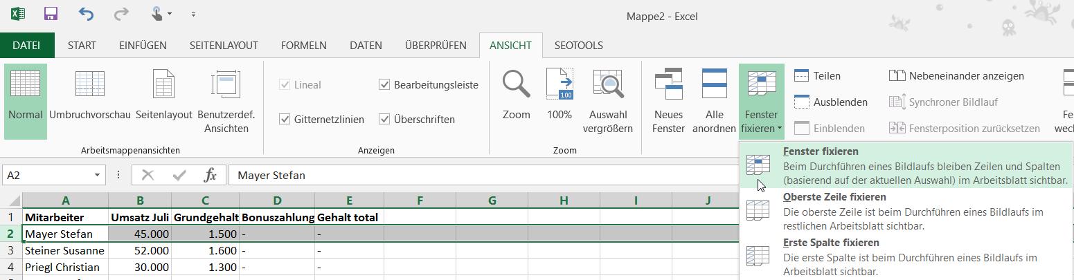 Fenster fixieren in Excel
