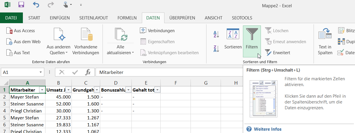 Filter in Excel setzen