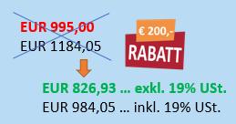 Aktionspreis für VBA Makro Kurs mit EUR 200 Rabatt für Sidebar