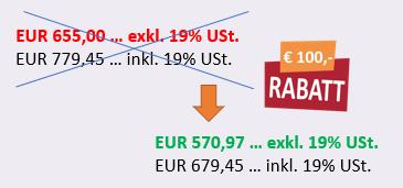 Preisschild mit Aktionspreis Controlling Kurs - EUR 100 Rabatt