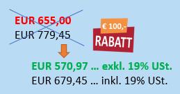 Preisschild mit Aktionspreis Controlling Kurs - EUR 100 Rabatt für Sidebar