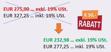 Preisschild mit Aktionspreis Einsteiger Kurs - EUR 50 Rabatt