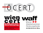 Logos von Akkreditierungen - anerkannter Bildungsträger nach Ö-Cert und wien-cert