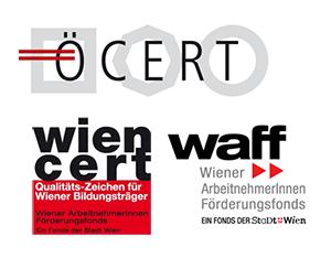 Logos von Ö-Cert und wien-cert als anerkannter Bildungsträger